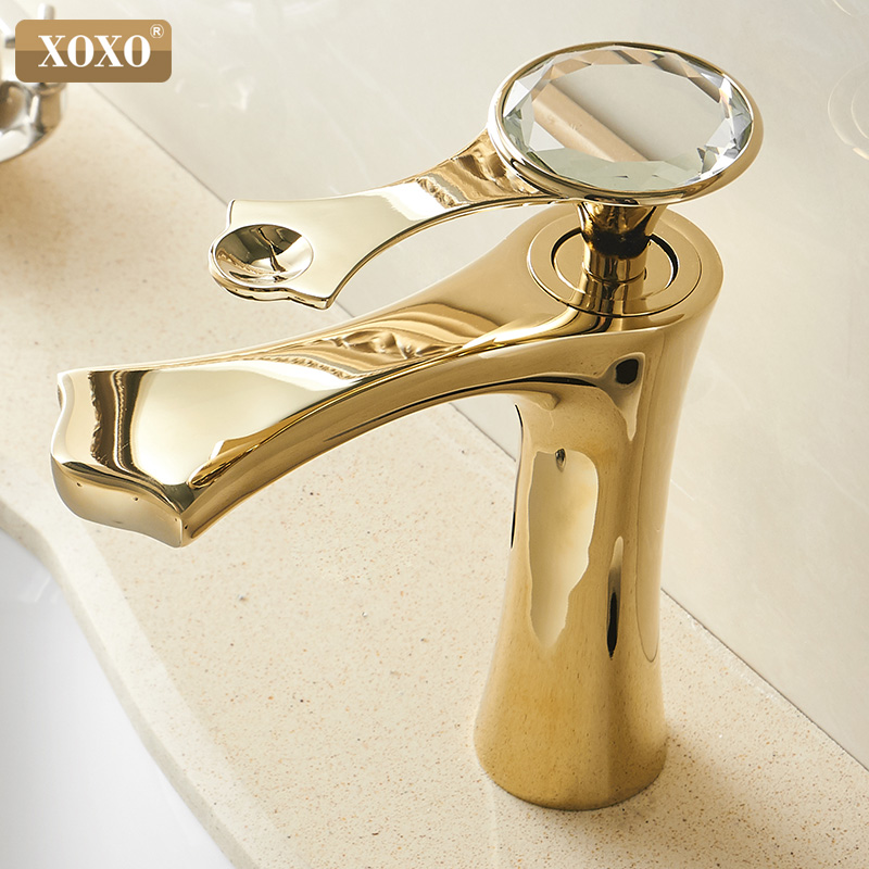 XOXO Basin Faucet Cold And Hot Diamond Golden Black Single Handle Single Hole Bathroom Sink Faucets Deck Mounted Mixer Tap 20085
