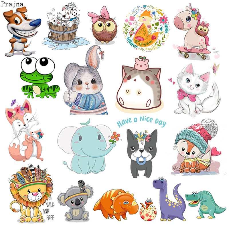 Prajna Iron On Cartoon Cute Animal Patches For Kids Clothes T-shirt DIY Applique Heat Transfer Vinyl Unicorn Owls Stickers Decor