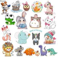 Prajna Iron On Cartoon Cute Animal Patches For Kids Clothes T-shirt DIY Applique Heat Transfer Vinyl Unicorn Owls Stickers Decor цена