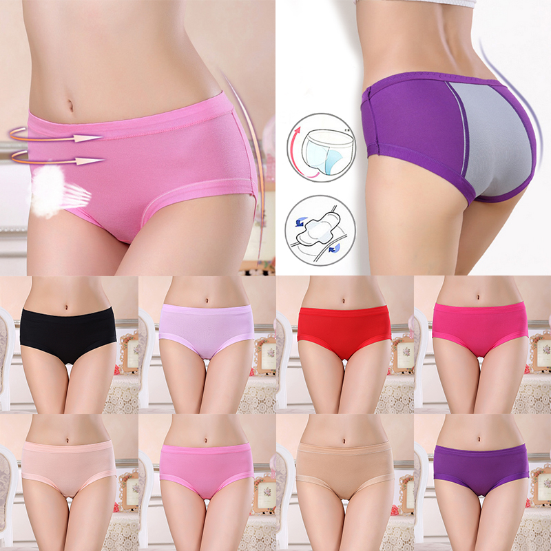 Fashion Women Hot Sale Solid Briefs Mid-Rise Physiological Period   Panties   Breathable 8 colors Super absorbent capacity Underwear