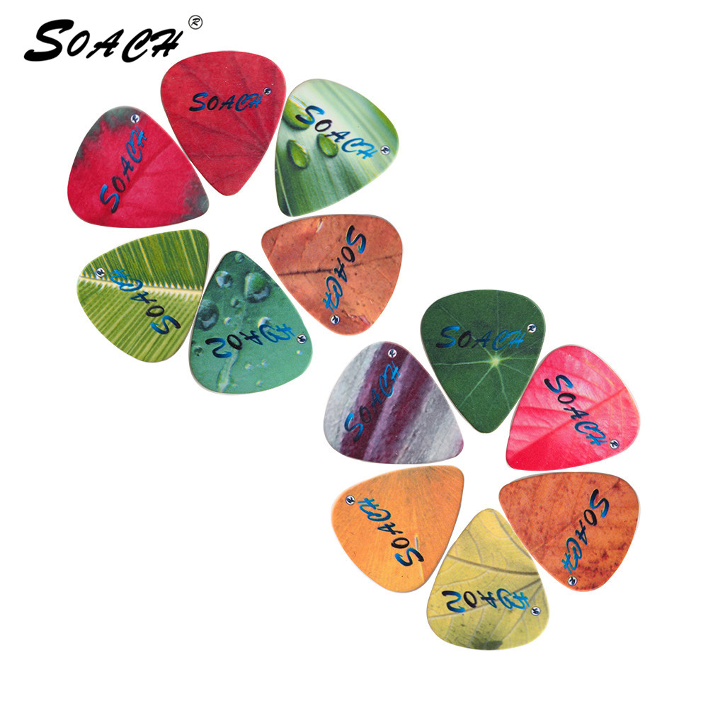 SOACH 10pcs 3 Kinds Of Thickness New Brand Guitar Picks Bass Pure Color Tree Leaf Pictures Quality Print Guitar Accessories