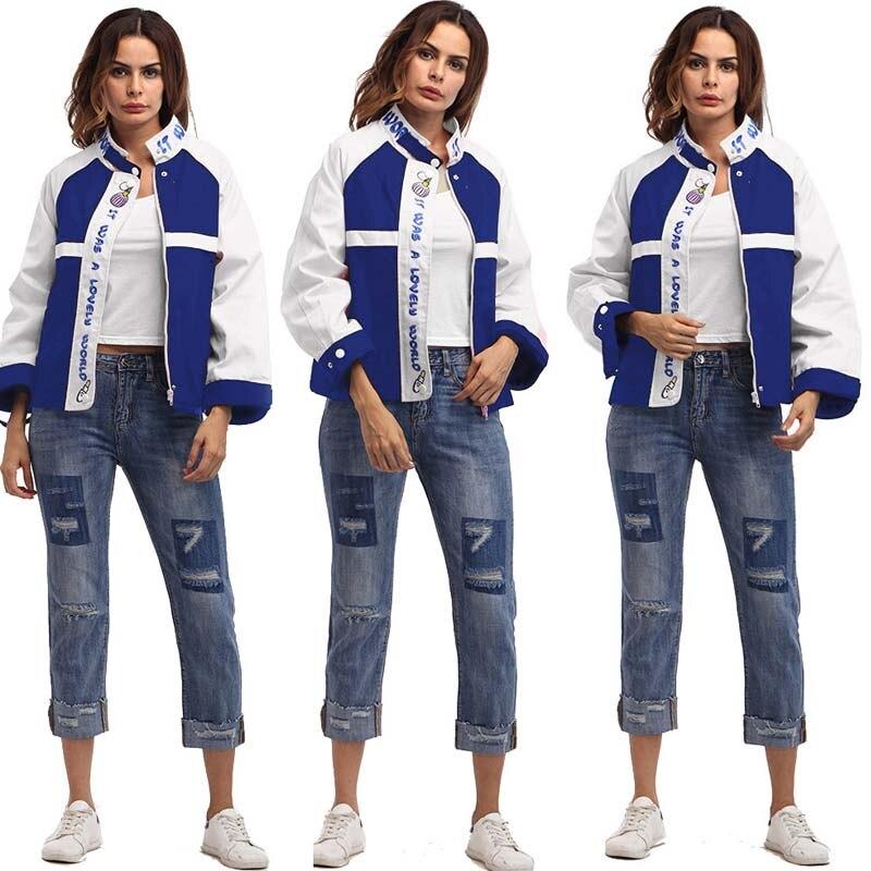 New 2018 Autumn winter   Jacket   Coat Letter Embroidered Hit Color Bomber   Jacket   Women Baseball   Basic     Jacket   Female Blue Coat