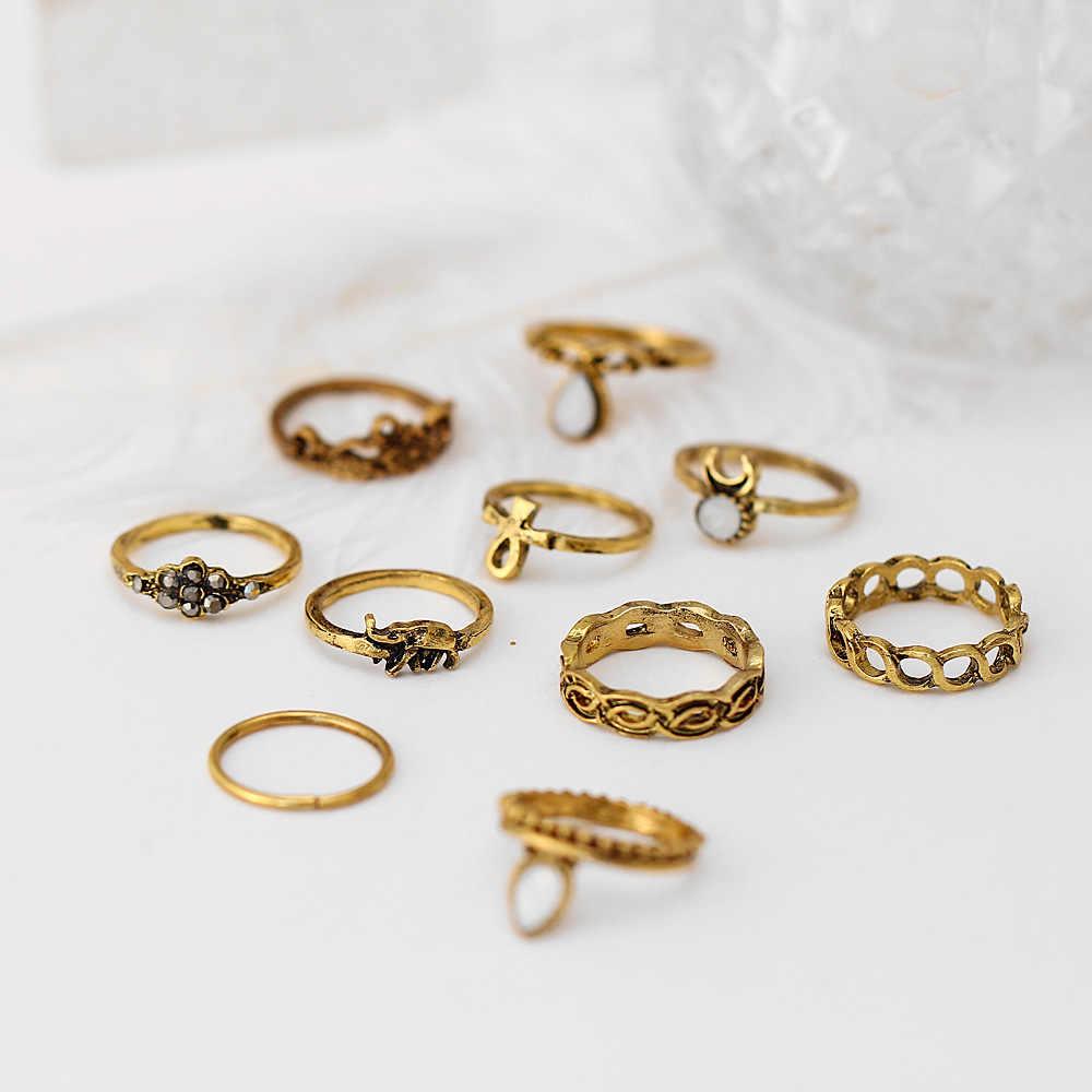 10 шт./компл. винтажный этнический богемный кольцо полое геометрическое Луна Слон Цветок раздвижное кольцо в стиле панк женские украшения для пальцев оптовая продажа
