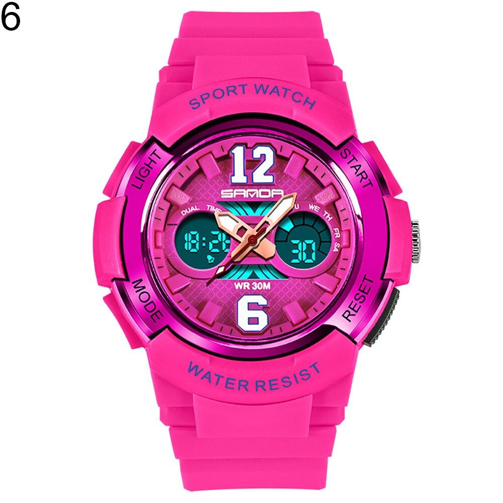 Модная детская одежда унисекс световой сигнализации Водонепроницаемый цифровой Дисплей Спорт Электроника наручные часы - Цвет: Rose Red