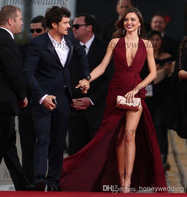 Livraison gratuite 2015 nouveau chaud sexy col en v Golden Globe prix tapis rouge robes Miranda fête à côté fente célébrité robe de concours