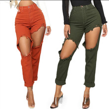 Spring Selling Hot Fashion Holes Ladies Pants Casual High Waist Slim Thin Female Jeans Pencil