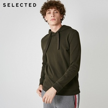 SELECTED Mens 100% Cotton Pullover Pure Color Hooded Sweatshirt Drawstring Hoodies Clothes S