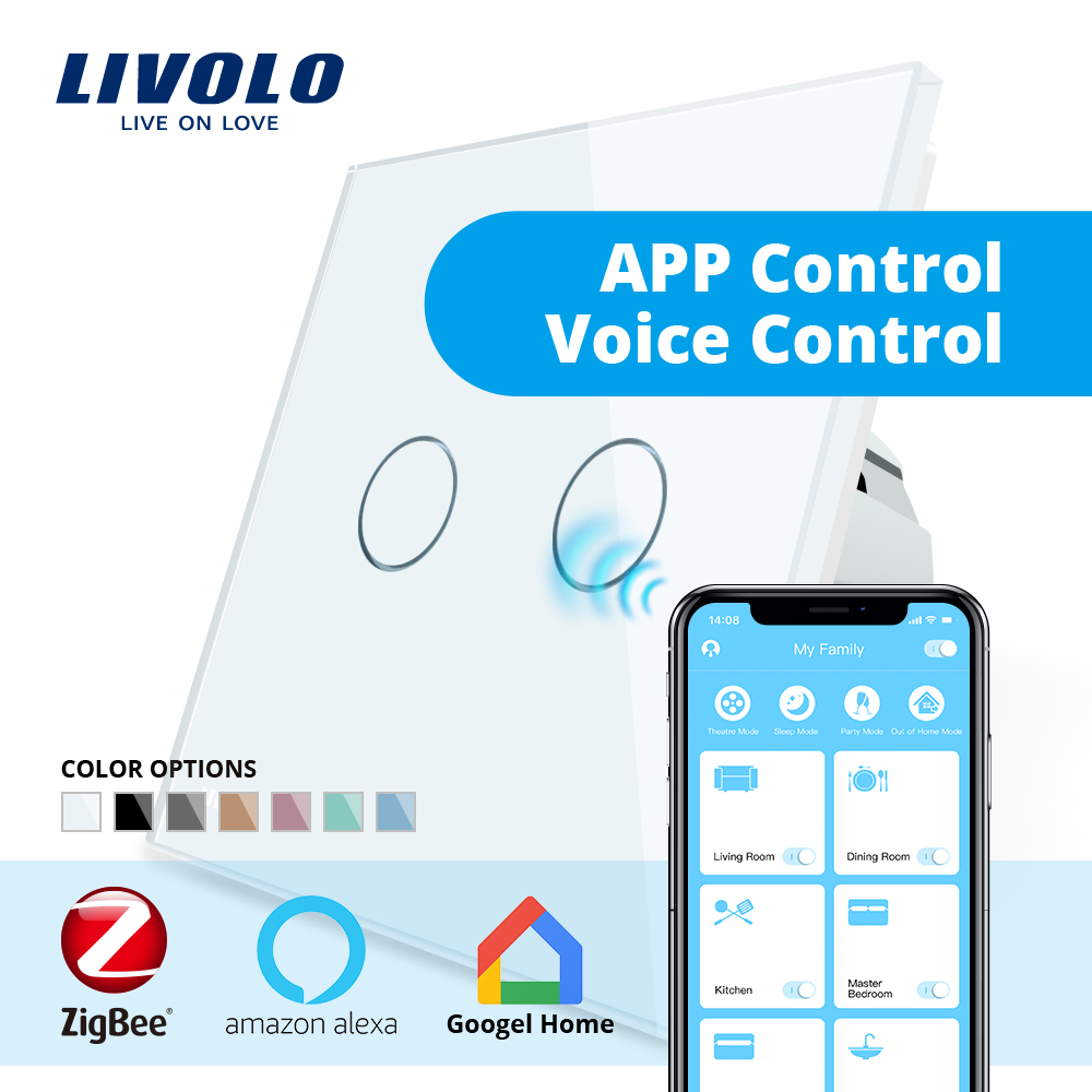 Livolo APP contrôle tactile Zigbee commutateur, WiFi domotique contrôle intelligent, travail avec Echo, alexa, google Home