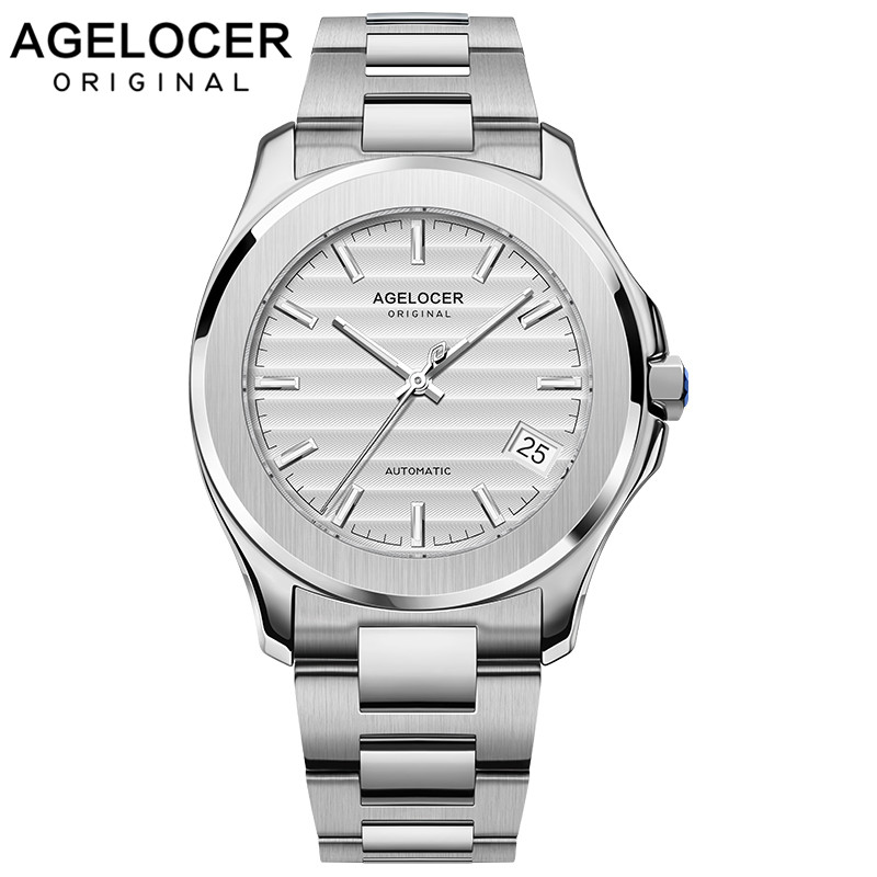 Agelocer Luxury Top Brand Mens Watches Waterproof Automatic Watch White Sapphire Luminous Steel Mechanical Watches  6301A9|Mechanical Watches| |  - title=