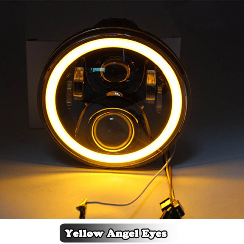 7 Inch Round LED Headlight Lamp With DRL Angle Eyes Halo 7