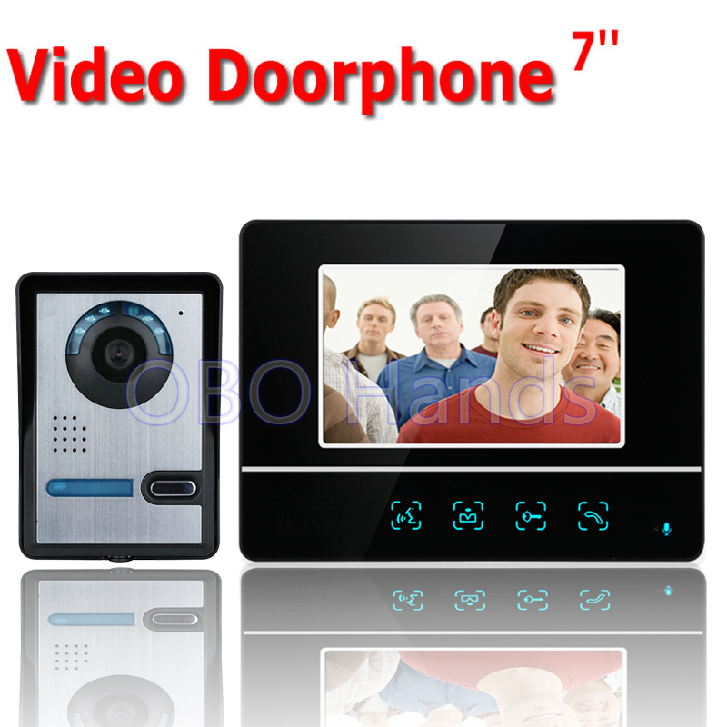 Free shipping 7'' wired color video door phone Intercom system video doorbell kit IR 1 outdoor camera +1 monitor 811FA11