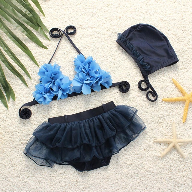 2018 Summer New Mesh Split Bikini Set For Girls Korean Two Pieces Flower Swimwear With Swim Cap Funny Hot Style Swim Suit 62399