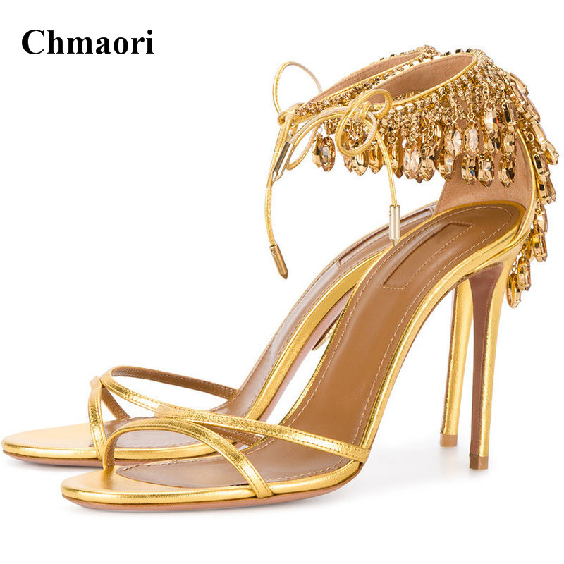 Women Charming Open Toe Strap Cross Diamond Rhinestone Sandals Lace-up Gold Nude Green Crystal High Heel Sandals Wedding Shoes luxury women shoes high heel sandals lace up heels open toe crystal embellishment laides party nude sandals fashion footwear