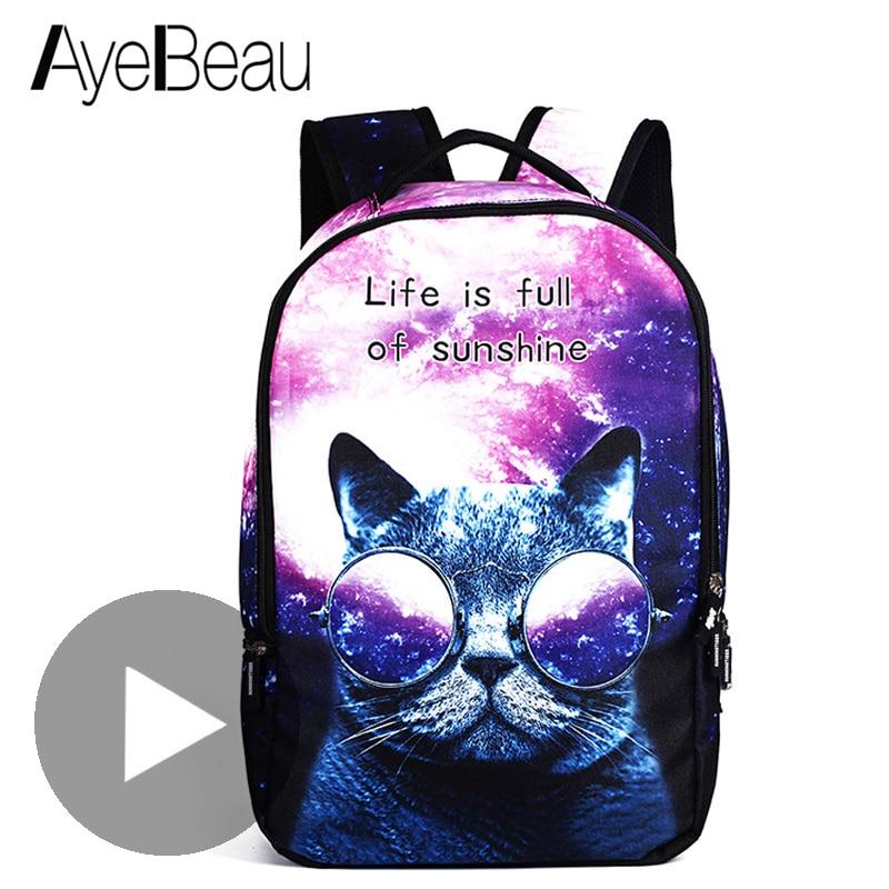 Cute Portfolio School Bag Children Printing Backpack With Cat Print Female Women For Kids Boys Girls Teenagers Schoolbag Bagpack