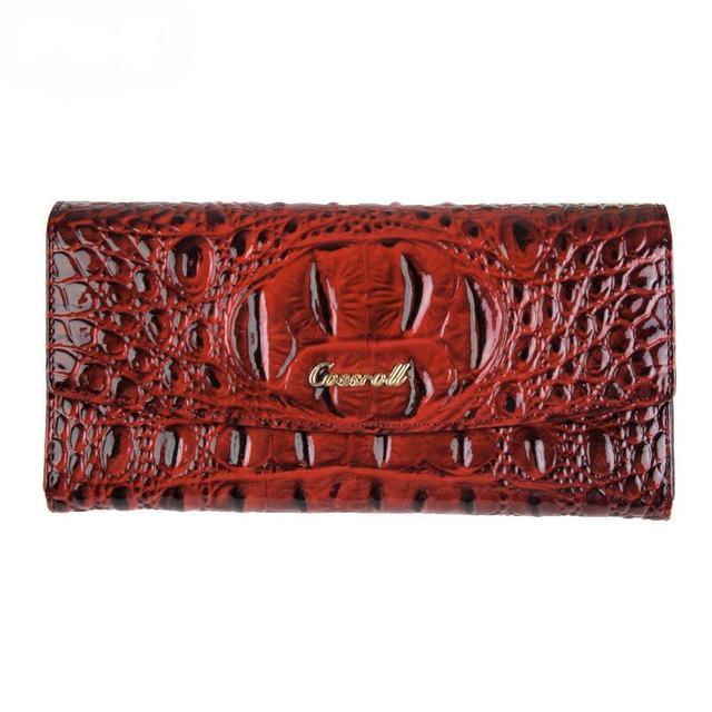 Female Brand Clutches Genuine Leather Standard Wallet Women's Fashion Alligator Designer Card Handbags Credit Card Holder