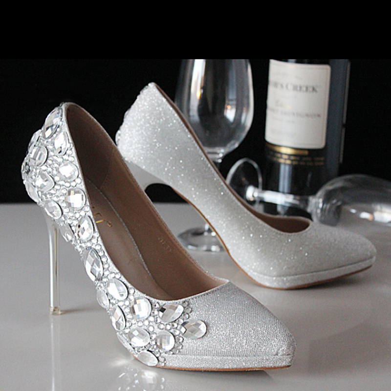Fashion Silver Crystal Bling Bling Wedding Dresses Shoes Elegant Modest  Party Wear Bridal Shoes Low Heel Shoes-in Women s Pumps from Shoes on  Aliexpress.com ... 0341740b7f23