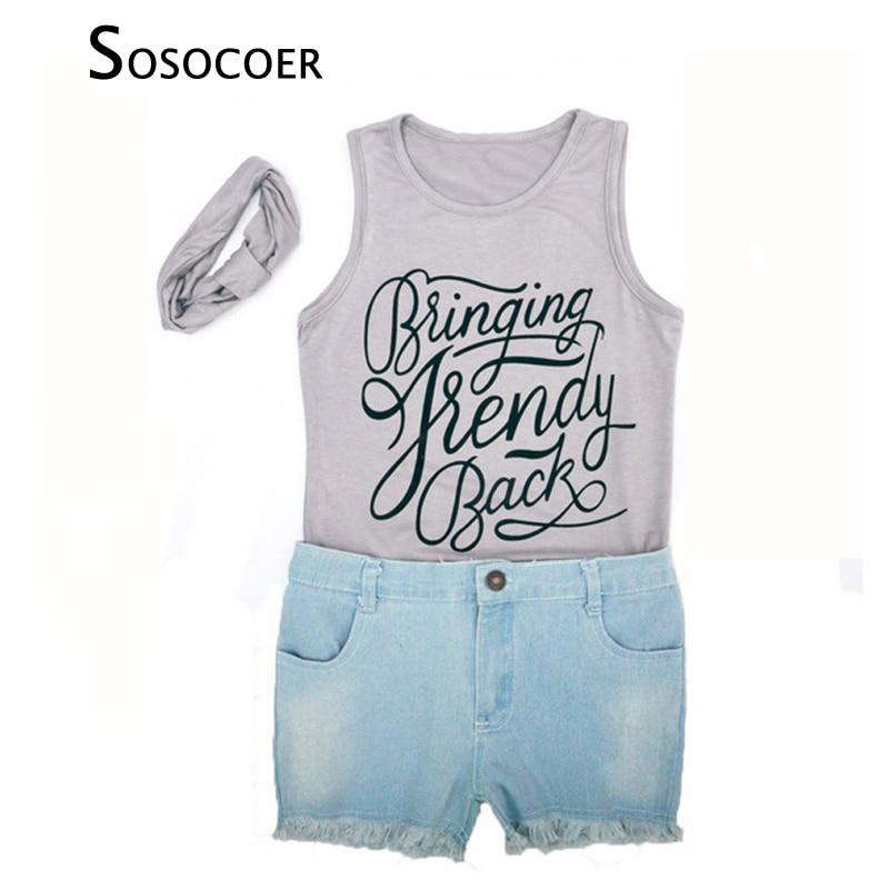 SOSOCOER Girl Clothing Sets Kids 3pcs Clothes Summer Letter Sleeveless T Shirt+Denim Shorts+Headband Baby Girls Clothing Set