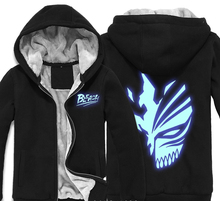Japan Anime Bleach Death Mask Thick Fleece Mens Outwear Big Yards Cotton Hoodie Coat Jacket Parkas Warm