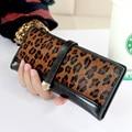 Women Leather Wallets Designer Leopard Patchwork Clutches Card Holder Coin Purses Desigener Money Bag 2016 Portefeuille Femme
