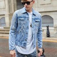 Streetwear Autumn Coat For Male Bomber Jacket Mens Casual Hip Hop Men Punk Denim Jackets Multi Rivets Embroidery Denim Jackets