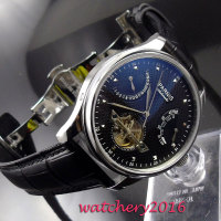 43mm Parnis Black Dial Power Reserve Deployment Clasp Complete Calendar Watches Top Brand Luxury Automatic Mechanical