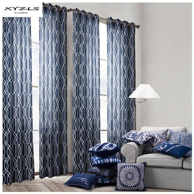 XYZLS œillets motif géométrique rideaux bleu fenêtre traitement pour salon chambre rideaux 1 pièce