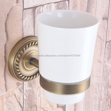 Antique Brass Toothbrush Holder Tumbler Holder Toothbrush Holder With Single Ceramics Cup Bathroom Accessories Nba264 luxury brush tumbler ceramic cup holder antique bronze single toothbrush holder wall mounted ceramic bathroom accessories
