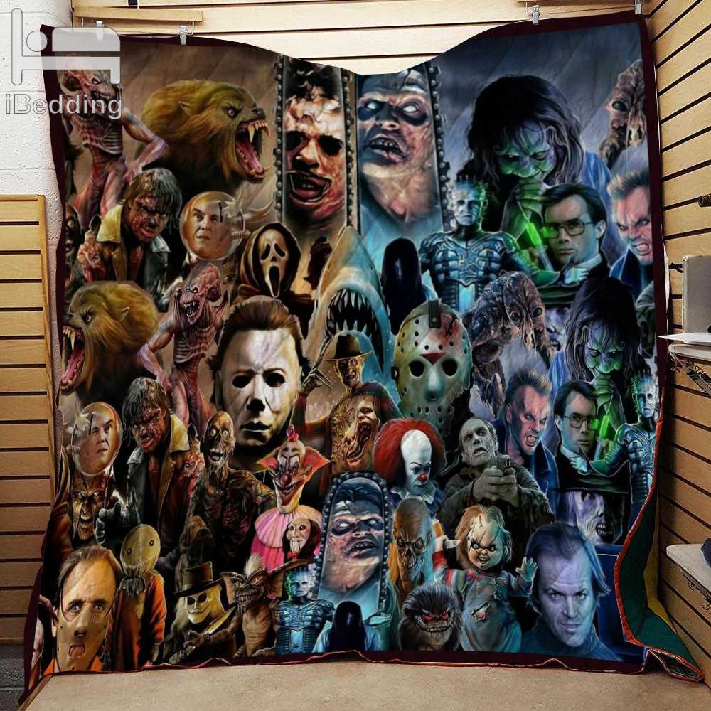 80s and 90s Horror Movies Classic Movie Characters Monster Printed Quilt Blanket Twin Full/Queen King Size Customize