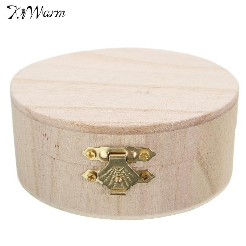 Kiwarm portable storage boxes round wooden box jewelry for Circular wooden box
