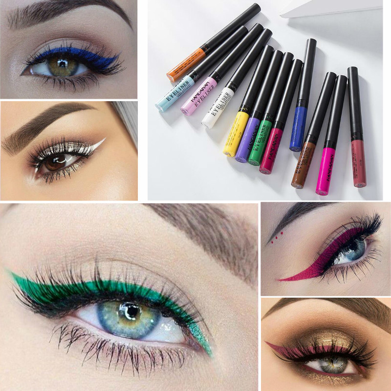 HANDAIYAN Matte Liquid Eyeliner Waterproof Golden Silver Purple White Gold Red Liquid Eyeliner Brown Tint Long Lasting Eye Liner