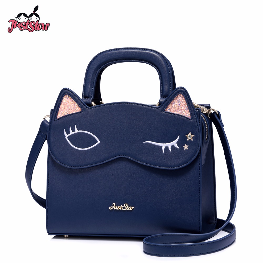 JUST STAR Women's Leather Handbags Ladies Fashion Embroidery Cat Eyes Shoulder Tote Purse Female Flap Sweet Messenger Bags citilux 1048220
