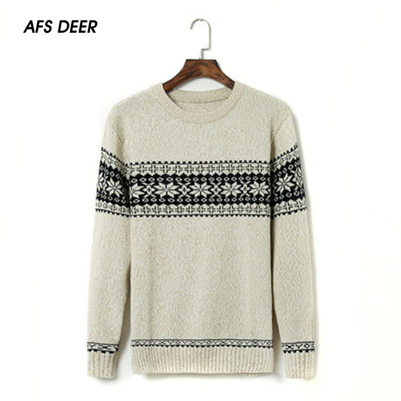 England Style 2018 Winter Men Fashion O-Neck Computer Knitting Jacquard Weave Sweater Men Business Causal Pullovers Sweater