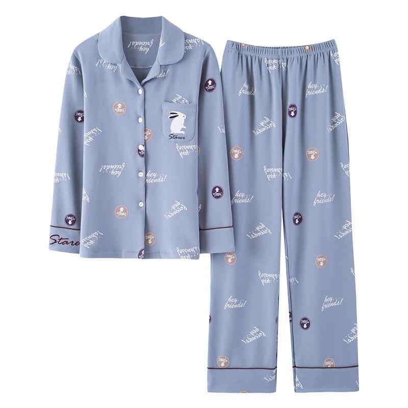 Nouveau Femmes Élégantes de Printemps Et Automne 100% Coton 2 Pièce Pyjamas Costumes À Manches Longues Dame Sommeil Vêtements Pour M-3XL