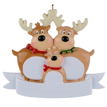 Reindeer Family Of 3 Resin Hanging Personalized Christmas ornaments As For Holiday or New Year Gifts Home Decoration