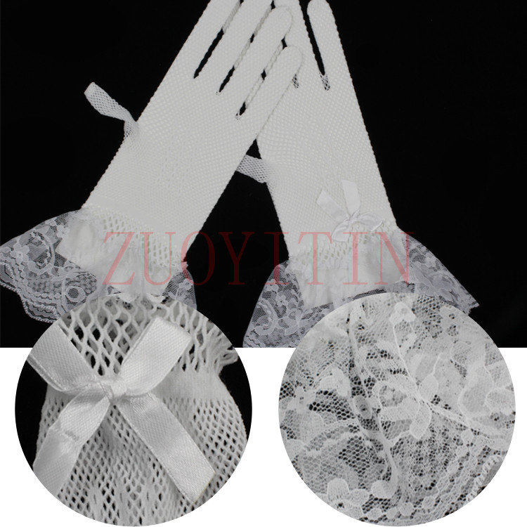 Купить с кэшбэком ZUOYITING White Girls Gloves Elastic Tulle Children Gloves For Wedding Wrist Length Finger Kids Short Wedding Gloves Accessories