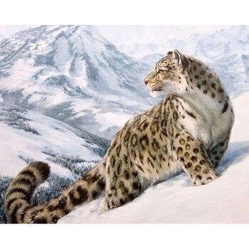 Sans cadre bricolage peinture à l'huile numérique par numéros Kits peinture à colorier par numéros cadeau Unique pour la décoration de la maison léopard 40x50 cm