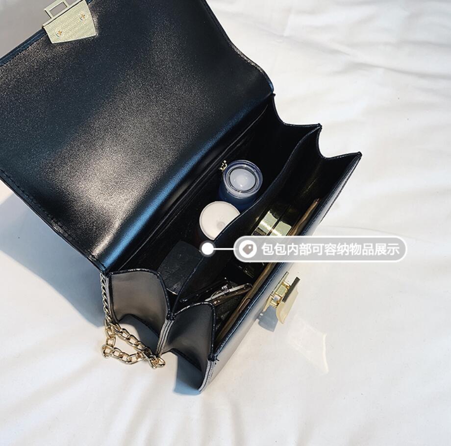 2019 Spring Fashion New Lock Square bag High Quality PU Leather Women's Designer Handbag Sweet Girl Chain Shoulder Messenger bag 5