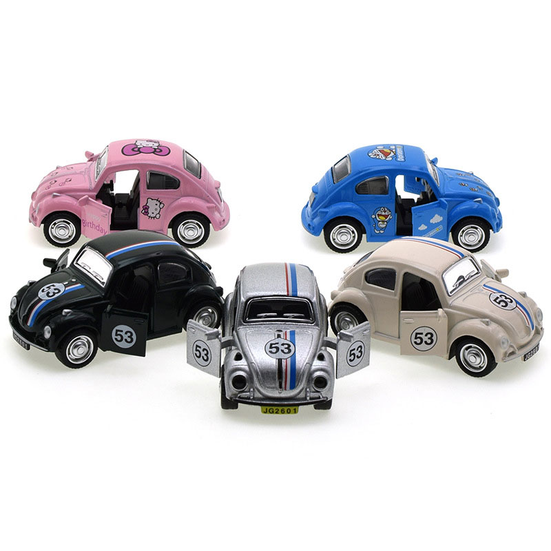 1:43 Cute Pattern Alloy Beetle Car Simulation Beetle Car Model Cake Decoration Ornaments Children Toys For Boy Girl Gift