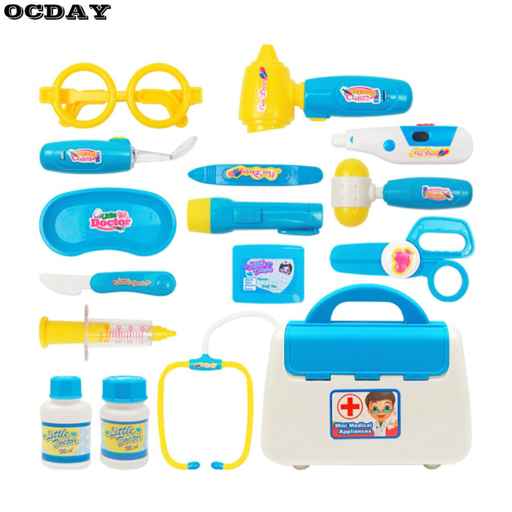 15PCS Doctor Kit Nurse Medical Case Role Play Set Kids Early Educational Toy Gifts For Girls With Light Sound Pretend Tool Toys