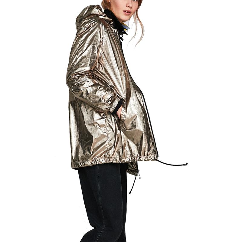 Plus size Punk Waterproof Metallic Color Hooded   Basic     Jacket   Coat Women Biker   Jacket   Outwear Autumn Casual Zipper Bomber   Jacket