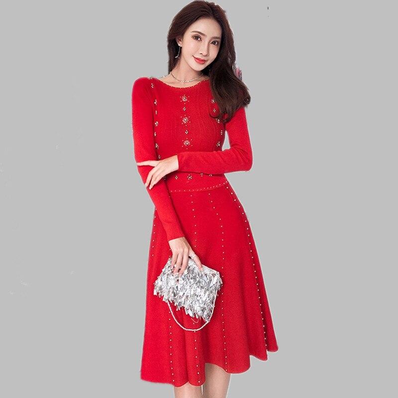 2019 Maglia Molla Borda A Maglioni Alta Vestito Dea Lavorato Ha Hamaliel Sfera Del Di Il Rosso Donne Modo Lusso Qualità Delle Nero Elastico rosso Abito Che qw8wUxft