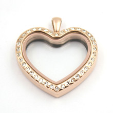 Heart Shape Floating Locket Pendant With Rhinestone Stainless Steel Magnetic Glass