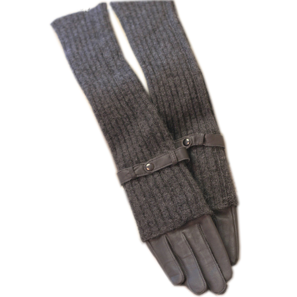 Genuine Leather Gloves Sheepskin Gloves Female Cashmere Gloves Long Gloves Black Coffee