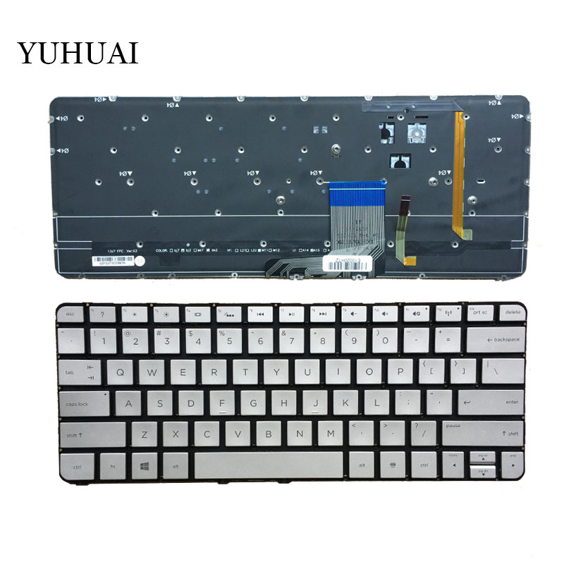 New Laptop keyboard for HP Spectre 13-3000 13-3000ea 13-3000ed 13-3000ee 13-3000er US 743897-001 No Frame Silver With Backlit
