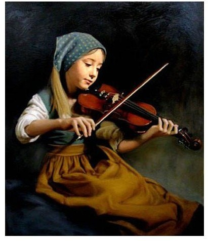 US $52 0 |Oil painting portrait nice young girl playing violin On Canvas ON  CANVAS 100% Free shipping-in Painting & Calligraphy from Home & Garden on