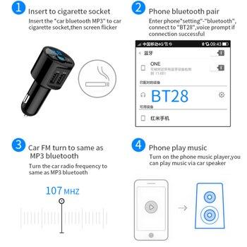 KORSEED 3.6A Quick USB Charger Bluetooth Car Kit FM Transmitter modulator Audio Music Mp3 Player Phone Wireless Handsfree Carkit 3