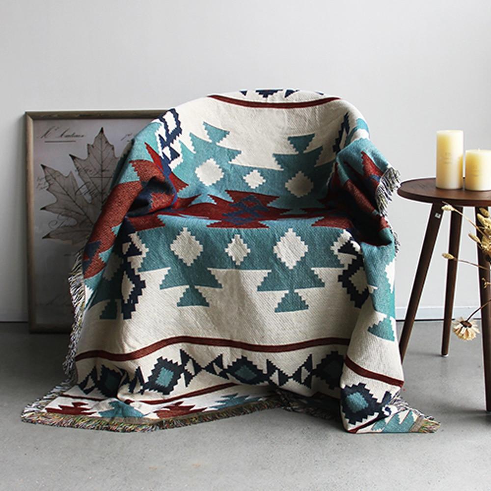 ESSIE HOME Kilim Carpet For Sofa Living Room Bedroom Rug Yarn Dyed 130 160cm Bedspread Tapestry