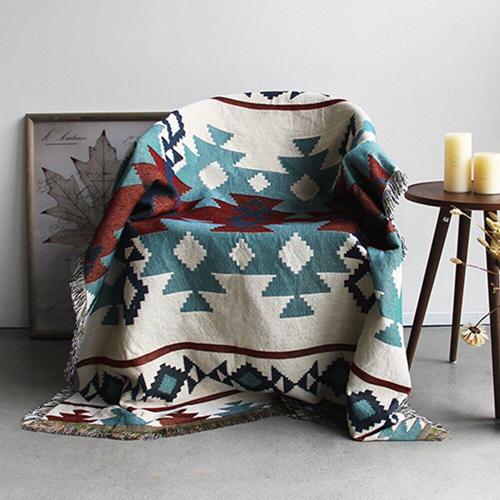 ESSIE HOME Kilim tapis pour canapé salon chambre tapis fil teint 130*160 cm couvre-lit tapisserie
