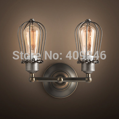 LOFT Vintage Industrial Edison Wall Light Bulb Double Cage Metal Light Black With Rust Color