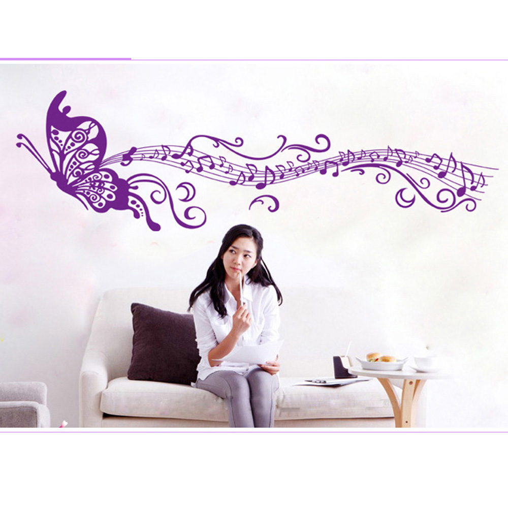 Purple Pollen Removable Wall Art Decal Sticker Diy Home: Aliexpress.com : Buy Candiway 60*90CM Music Butterfly DIY